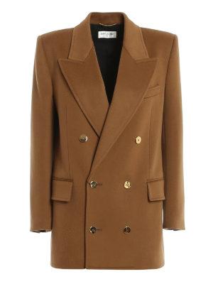 SAINT LAURENT: blazers - Golden button detailed wool blend long blazer
