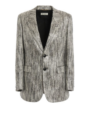 Saint Laurent: blazers - New Angie metallized long jacket