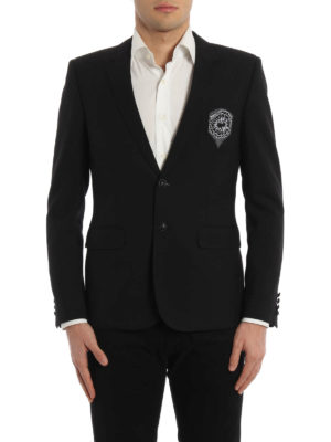 Saint Laurent: blazers online - Patch detail pure wool blazer