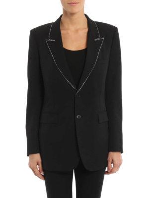 Saint Laurent: blazers online - Rhinestone trims wool blazer