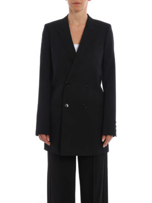 Saint Laurent: blazers online - Wool double-breasted long blazer