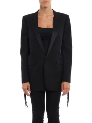 Saint Laurent: blazers online - Wool fringe detailed blazer