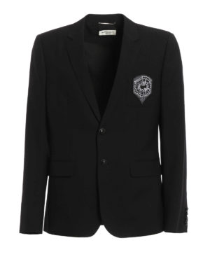 Saint Laurent: blazers - Patch detail pure wool blazer