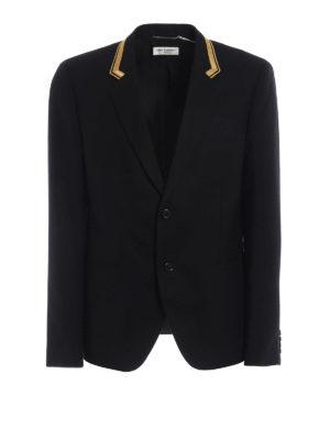 Saint Laurent: blazers - Wool blazer with lurex embroidery