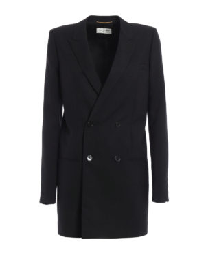 Saint Laurent: blazers - Wool double-breasted long blazer