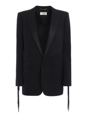 Saint Laurent: blazers - Wool fringe detailed blazer