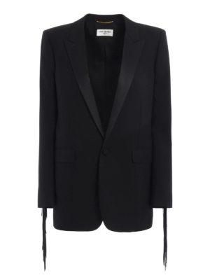 Saint Laurent: blazers - Wool fringe detailed blazer