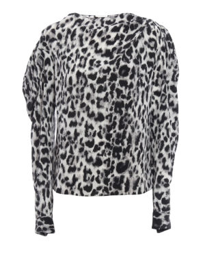 Saint Laurent: blouses - Animal print silk asymmetric blouse