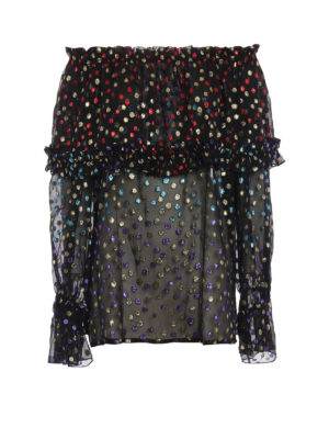 Saint Laurent: blouses - Colourful lurex polka-dot blouse