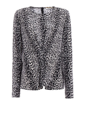 Saint Laurent: blouses - Draped leopard print silk blouse