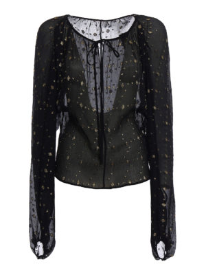 Saint Laurent: blouses - Lamé embellished silk blouse