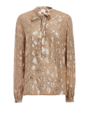 Saint Laurent: blouses - Lamé flowers silk blouse