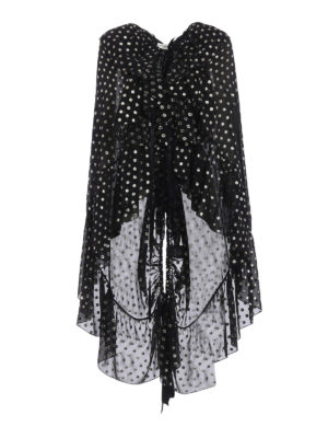 Saint Laurent: blouses - Lamé polka dot silk cape-blouse
