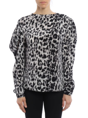 Saint Laurent: blouses online - Animal print silk asymmetric blouse