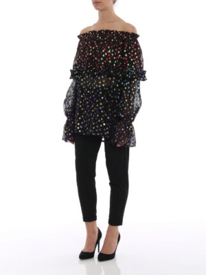 Saint Laurent: blouses online - Colourful lurex polka-dot blouse