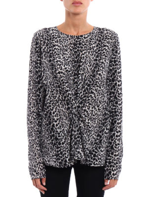 Saint Laurent: blouses online - Draped leopard print silk blouse