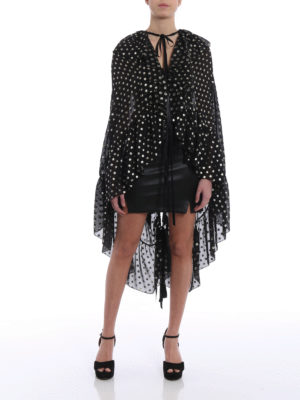 Saint Laurent: blouses online - Lamé polka dot silk cape-blouse