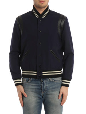 Saint Laurent: bombers online - Leather details wool bomber