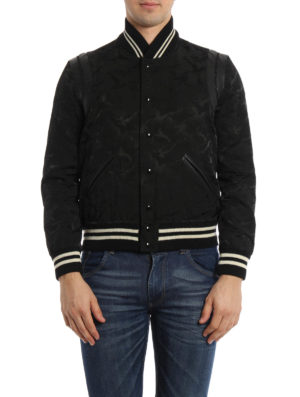 Saint Laurent: bombers online - Teddy camu cotton blend bomber