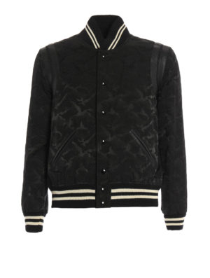 Saint Laurent: bombers - Teddy camu cotton blend bomber