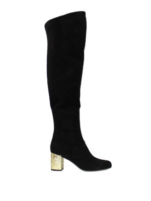 Saint Laurent: boots - Gold-tone heel BB 70 suede boots