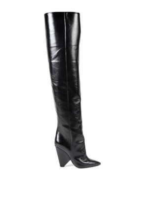 Saint Laurent: boots - Niki cracked shiny leather boots