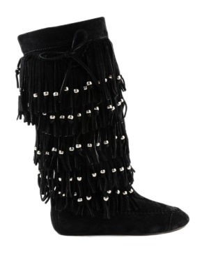 SAINT LAURENT: stivali - Stivali in pelle scamosciata Nino con frange