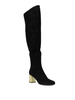 Saint Laurent: boots online - Gold-tone heel BB 70 suede boots