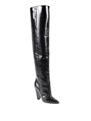 Saint Laurent: boots online - Niki cracked shiny leather boots