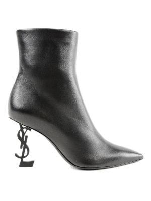 SAINT LAURENT: stivali - Stivaletti Opyum 85 Ysl in pelle con logo