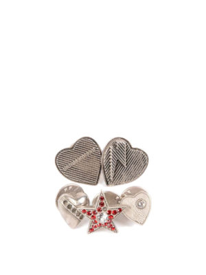 Saint Laurent: Brooches - Brass and rhinestone pin set
