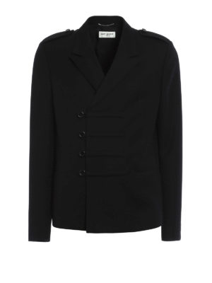 Saint Laurent: casual jackets - Double-breasted wool jacket