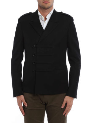 Saint Laurent: casual jackets online - Double-breasted wool jacket