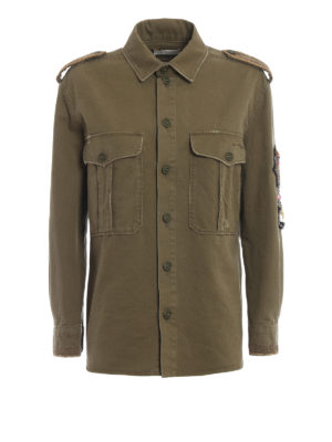 a5ce892e18f1 SAINT LAURENT  giacche casual - Giacca in cotone verde militare stile  camicia