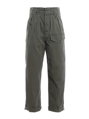 SAINT LAURENT: casual trousers - Canvas cargo pants with straps