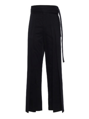 Saint Laurent: casual trousers - Hakama pleated cotton trousers