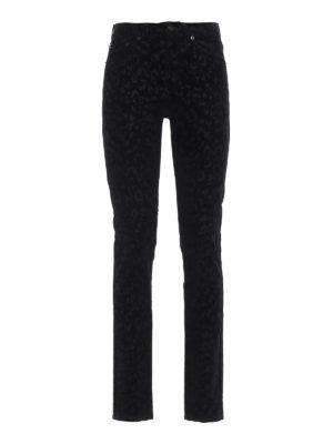 SAINT LAURENT: pantaloni casual - Cinque tasche skinny in velluto leopardato