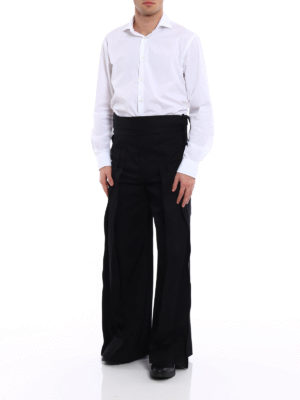 Saint Laurent: casual trousers online - Hakama pleated cotton trousers