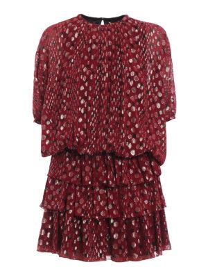 SAINT LAURENT: abiti da cocktail - Mini abito in georgette di seta a pois dorati