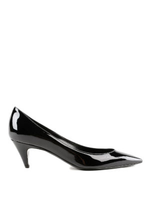 SAINT LAURENT: scarpe décolleté - Décolleté a punta in vernice Charlotte 55