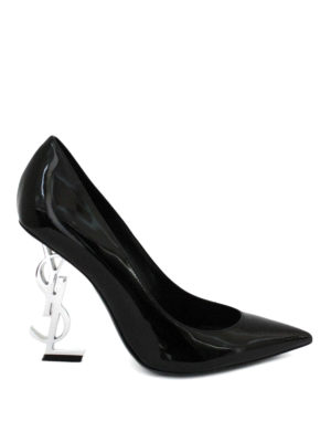 Saint Laurent: court shoes - Opyum pumps with silver logo heel