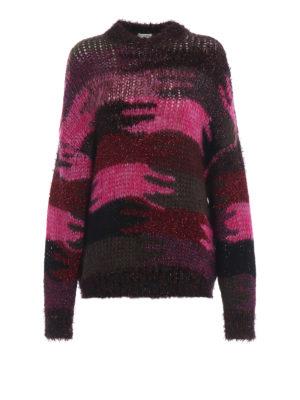SAINT LAURENT: maglia collo rotondo - Pull oversize in maglia jacquard camouflage