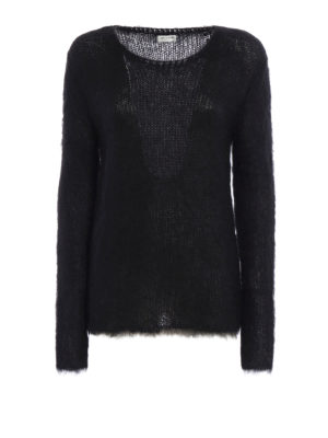 Saint Laurent: crew necks - Fluffy mohair blend long sweater