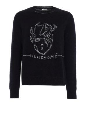 Saint Laurent: crew necks - Handsome metallic jacquard sweater