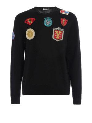 Saint Laurent: crew necks - Multi patch wool crew neck pullover