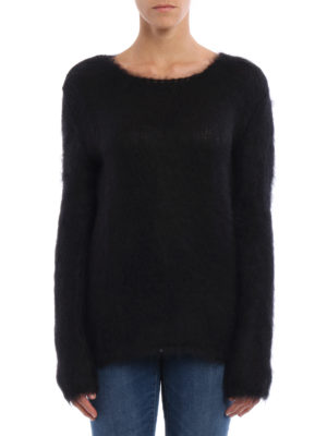 Saint Laurent: crew necks online - Fluffy mohair blend long sweater