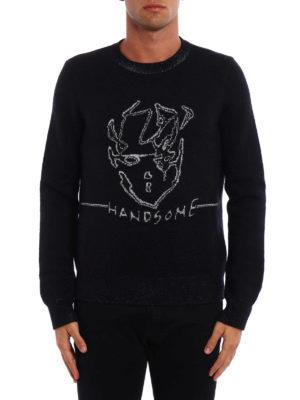 Saint Laurent: crew necks online - Handsome metallic jacquard sweater