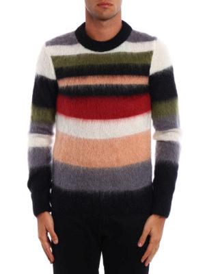 Saint Laurent: crew necks online - Striped mohair blend sweater