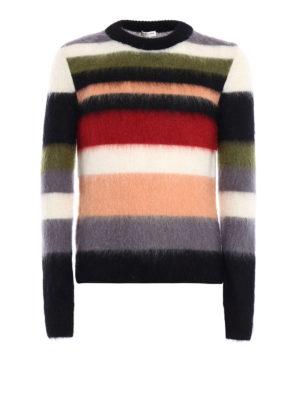 Saint Laurent: crew necks - Striped mohair blend sweater