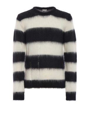 SAINT LAURENT: maglia collo rotondo - Maglione di mohair a righe